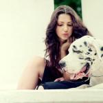 Фотосессия с собакой фэшн на пленере Нескучный сад недорого