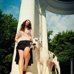 Фотосессия с собакой фэшн съемка на пленере недорого в Москве