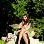 Фотосессия с собакой фэшн на пленере