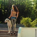 Фотосессия с собакой фэшн съемка в парке на пленэре недорого