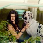 Фотосессия с собакой фэшн съемка в парке на пленэре