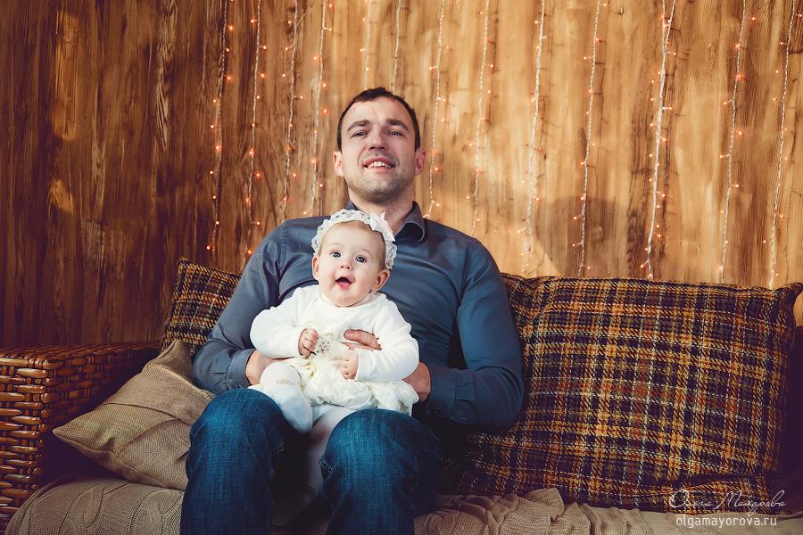 Папа с дочкой в студии