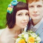 Лав стори фотосессия Анны и Валентина в Кусково влюбленные пара желтый голубой взгляд