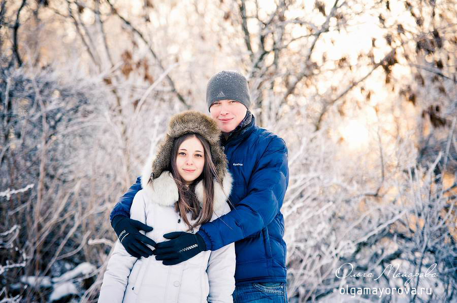 Фотосессия лав стори зимой на природе love story